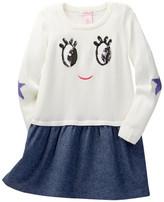 Design History Sequined Eyes Sweater Dress (Toddler & Little Girls)