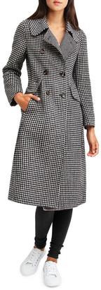 Belle & Bloom Save My Love Black & White Check Wool Coat
