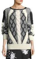 Prabal Gurung Cable-Knit Tweed Crewneck Sweater