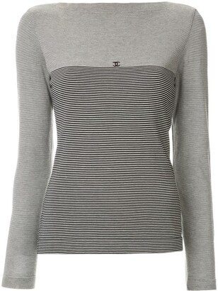 Chanel Pre Owned CC border striped top
