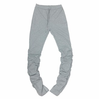 U/A Stacked Leggings Joggers Stacked Sweatpants Women Ruched Pants Legging Jogging Femme Stacked Pants Women Trousers Gray