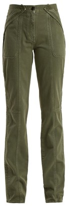 Valentino Washed-effect Denim Straight-leg Trousers - Womens - Dark Green
