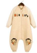 Aivtalk Baby Sleep Sack Winter Organic Cotton Breathable Zipper Blue Giraffe Sleeping Bag Snowsuit Sleeper for 12-18 Month