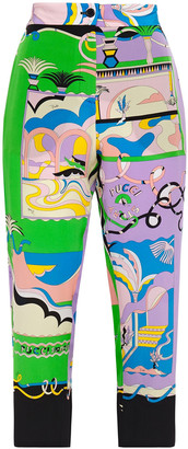 Emilio Pucci Cropped Printed Silk Crepe De Chine Straight-leg Pants