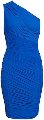 Herve Leger One Shoulder Tulle Draped Bodycon Dress