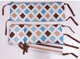 Bacati Modern Stripes Aqua/Chocolate Bumper Pad