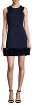 Donna Ricco Solid Ruffle Trim Sheath Dress