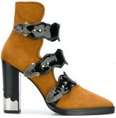Toga Pulla buckle strap ankle boots - women - Suede/Patent Leather/Leather - 38