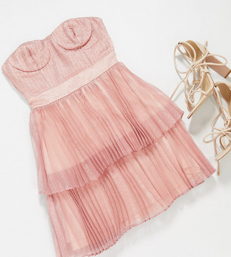 Collective the Label Petite tiered metallic mini dress in rose gold