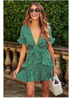 FS Collection Frill Skater Mini Dress In Green With White Little Floral Print