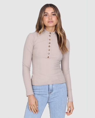 Lost in Lunar - Women's Workwear Tops - Nadia Ribbed Top - Size One Size, 6 at The Iconic