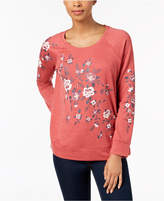 Style&Co. Style & Co Petite Placed Floral-Print Sweatshirt, Created for Macy's