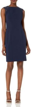 Alex Evenings Women's Short Shift Dress with Beaded Shoulder Detail