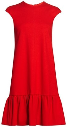 Akris Punto Peplum Cap-Sleeve Shift Dress