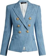 Balmain Double-breasted cotton-blend tweed blazer