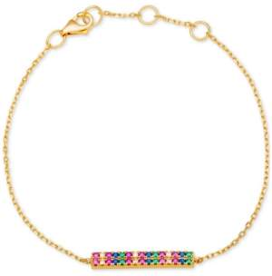 Giani Bernini Cubic Zirconia Rainbow Pave Bar Bracelet in 18k Gold-Plated Sterling Silver, Created for Macy's