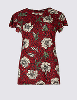 Per Una Floral Animal Print Frill Sleeve T-Shirt