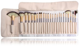 Zoe Ayla 24-Piece Make-Up Brush Set with Vegan Leather Storage Bag - Beige