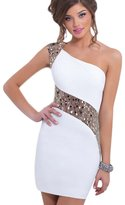 LQH Women's Casual Latest One-Shouder Beaded Midi Summer Party Dress WF-DW003 (M)