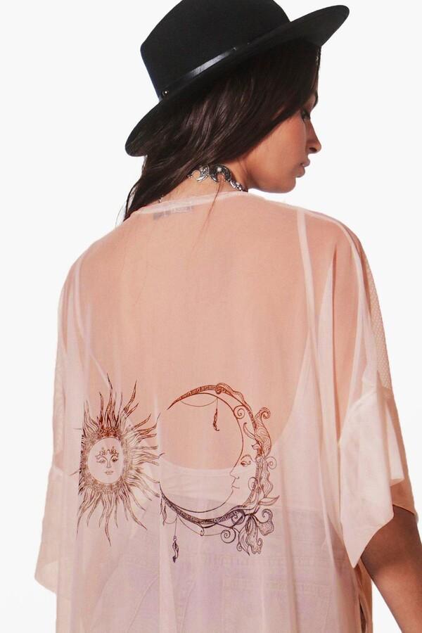 Thumbnail for your product : boohoo Sun And Moon Mesh Kimono