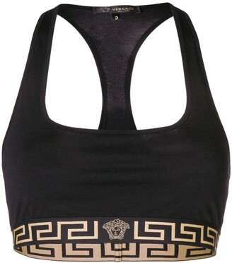 Versace Greek key logo trim sports bra