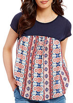 Jolt Mixed Media Printed Short Sleeve Bar Back Top