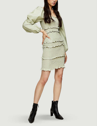Topshop Shirred cotton-poplin mini dress