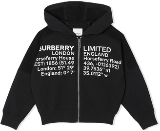 BURBERRY KIDS Location print zipped hoodie