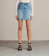 AllSaints Philly Embroidered Denim Skirt