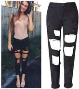 Qiyuxow Mid Waist Women Boyfriend Ripped Jeans Distressed Casual Denim Pants (L, )