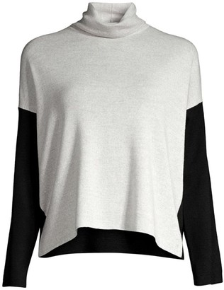 Eileen Fisher Colorblock Merino Wool Turtleneck Sweater