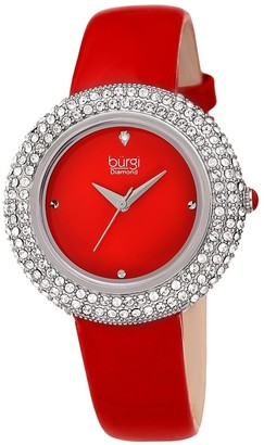 Burgi Ladies Diamond Swarovski Crystal Sparkling Red Leather Strap Watch