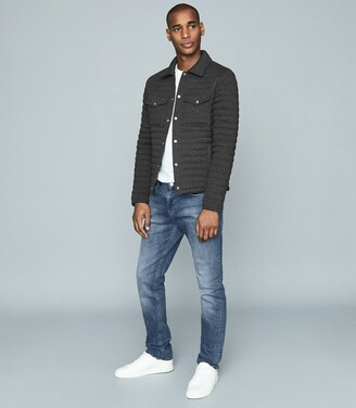 Reiss Blake - Quilted Cotton-blend Jacket in Charcoal