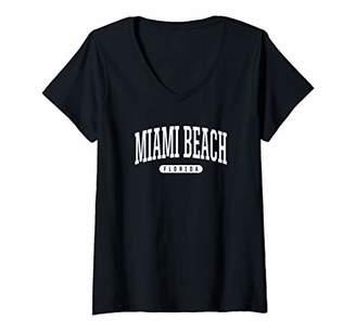 Womens College Style Miami Beach Florida Souvenir Gift V-Neck T-Shirt