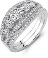 Lafonn Micro Pave Simulated Diamond Sterling Silver Wedding Ring Set - 1.84 ctw