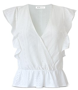 BCBGeneration Crossover Neck Eyelet Embroidered Top