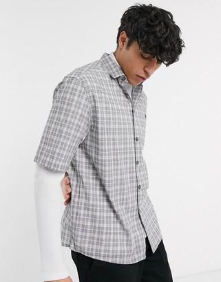 Asos Design DESIGN boxy check shirt-Gray