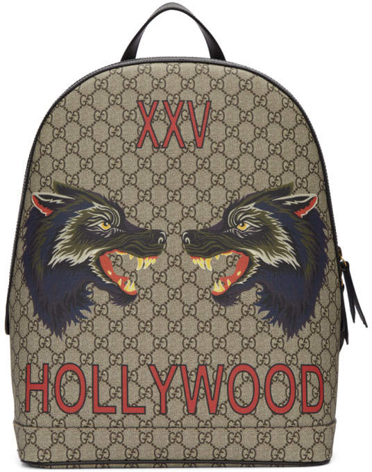Gucci Beige GG Supreme XXV Hollywood Wolf Backpack