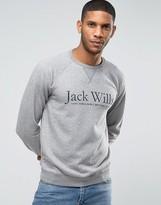 Jack Wills Sweatshirt With Print And Raglan Sleeves In Granite
