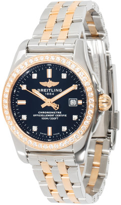 Breitling Black Diamond 18K Rose Gold and Stainless Steel Galactic C72348531B1C1 Women's Wristwatch 29MM