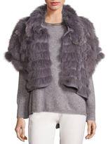 Halston Fox Fur & Wool Cropped Jacket