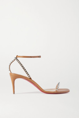 Christian Louboutin So Me 70 Studded Leather Sandals - Tan