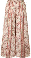Mes Demoiselles Bogdan Printed Washed-silk Wide-leg Pants - Antique rose
