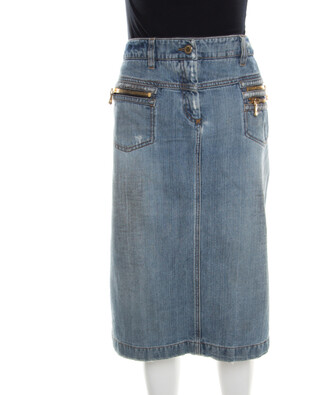 Dolce & Gabbana Indigo Faded Effect Distressed Denim Skirt M