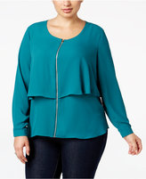 NY Collection Plus Size Zip-Front Popover Blouse