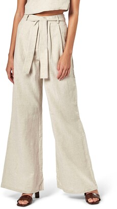 Charlie Holiday Bask Tie Waist Wide Leg Linen & Cotton Pants