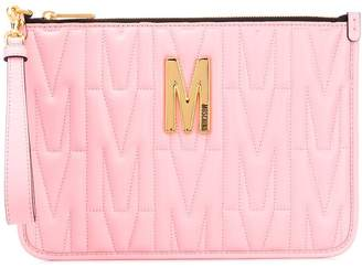 Moschino M-quilted clutch bag
