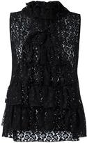 Giamba ruffled lace top - women - Polyamide/Viscose - 44