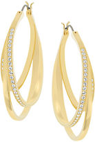 Swarovski Spiral Goldtone and Crystal Drop Earrings