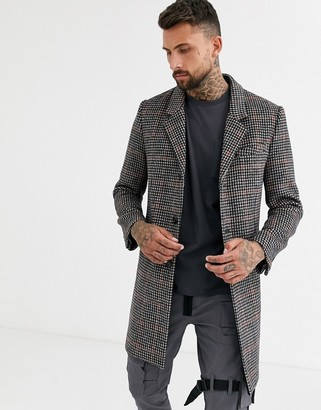 Topman overcoat in dogtooth check